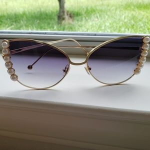 Gold Framed Sunglasses with Pearls